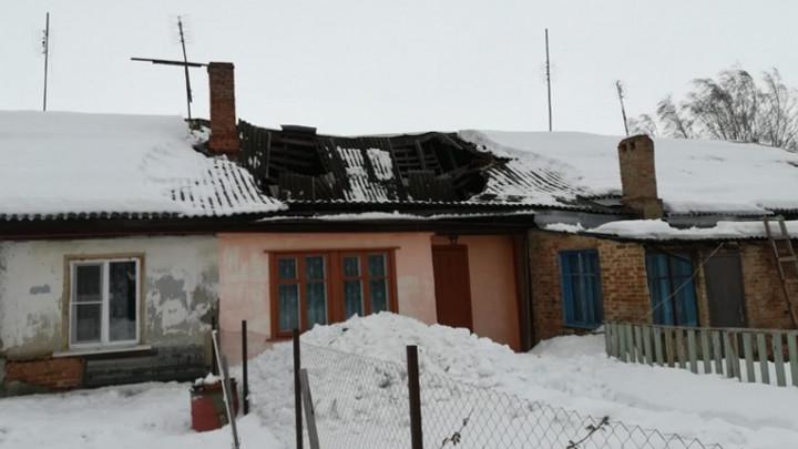 В Богородицке снег продавил крышу дома