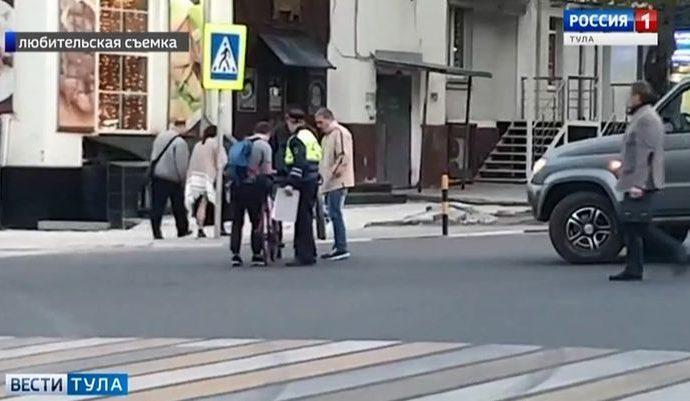 На главной улице Тулы водитель «Патриота» сбил велосипедиста