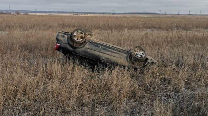 Под Новомосковском автомобиль улетел в кювет и перевернулся