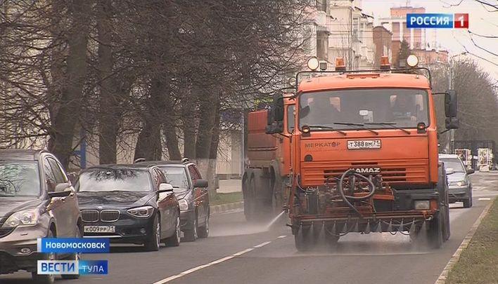 В Новомосковске дезинфицируют улицы