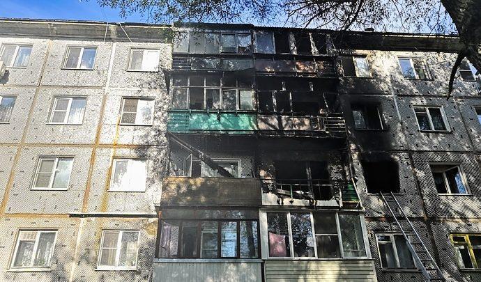 Пожар в доме на улице Серебровской в Туле