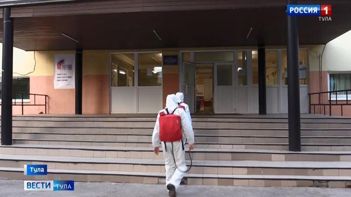 В Тульской области участки для голосования обработали безопасным раствором