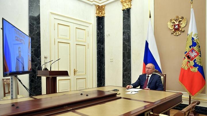 Владимир Путин и Алексей Дюмин, видеоконференция