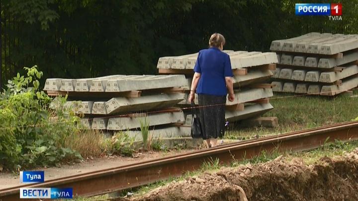 В Туле ремонтируют трамвайные пути на Красном Перекопе