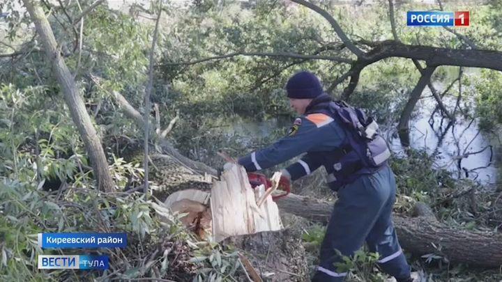 Тульские спасатели расчищают русло и прибрежную полосу реки Шиворонь в районе Дедилова