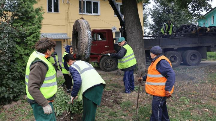 Клумбы и лебеди из старых покрышек запрещены: Улицы городов губернии очищают от резинного мусора